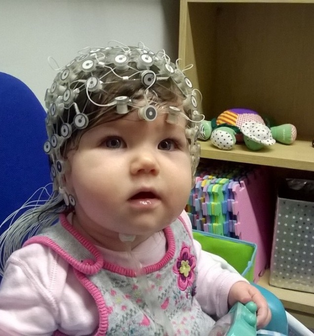 Harriet wearing the EEG cap